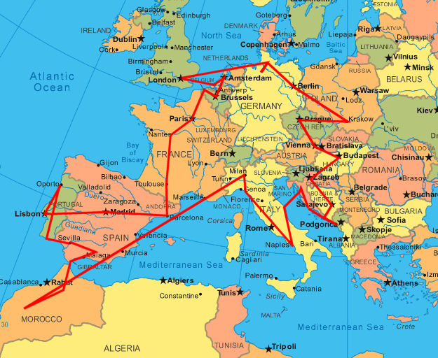 map – Europe Train Travel Map
